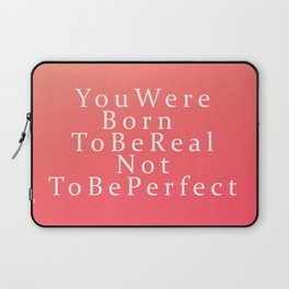 Modern Coral Peach White Inspirational Quote Laptop Sleeve