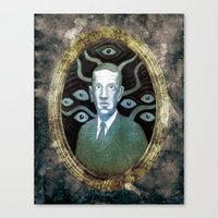 lovecraft Canvas Prints featuring H.P Lovecraft by ART BY WEST