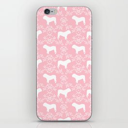 English Bulldog silhouette florals pink and white minimal dog breed pattern print gifts bulldogs iPhone Skin
