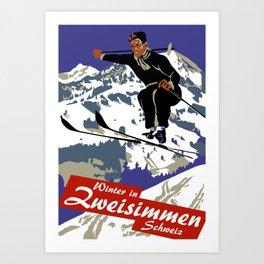Winter in Zweisimmen Schweiz Art Print