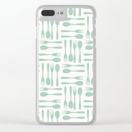 Blue Forks and Spoons Clear iPhone Case