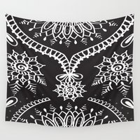 henna Wall Tapestries featuring Black and White Henna by The Nymph