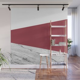 Marble Jester Red Geometry Wall Mural