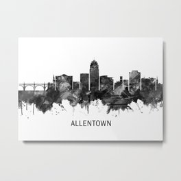 Allentown Pennsylvania Skyline BW Metal Print