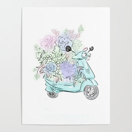 flowers and scooter. Flowers art Flower Art Print. Poster