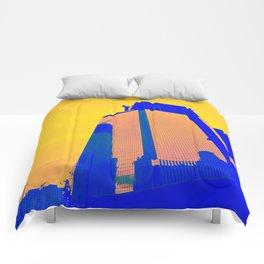Blue building Comforters