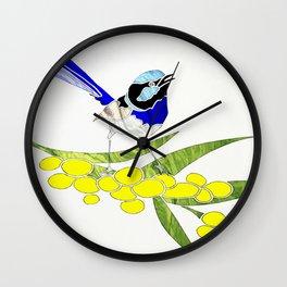 Blue Wren and Golden Wattle Wall Clock