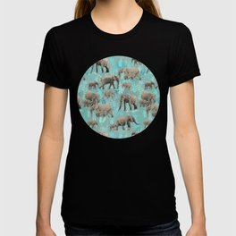 Sweet Elephants in Soft Teal T-shirt