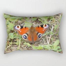 Butterfly on a grass in a field close-up Rectangular Pillow