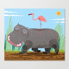 The Hippo and The Flamingo Canvas Print