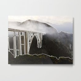 Line Series - Bixby Bridge, Big Sur, Califonria Metal Print