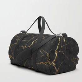 Gold Glitter and Black marble Duffle Bag