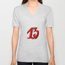 Number 13 Unisex V-Neck