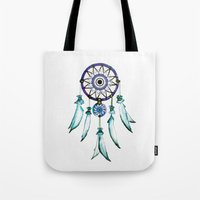 dreamcatcher Tote Bags featuring Dreamcatcher by Monika Strigel