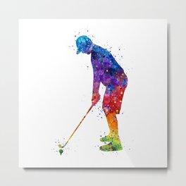 Boy Golf Player 2 Beautiful Colorful Waterolor Art Metal Print