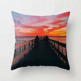 sunset at seaside park pier  Throw Pillow