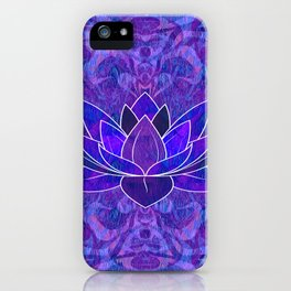 Blue and Purple Lotus Floral Tribal Print iPhone Case