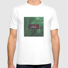 Palm Trees White MEDIUM Mens Fitted Tee