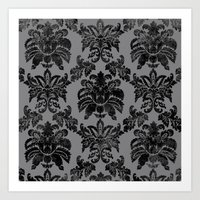 damask Art Prints featuring DAMASK by pike design