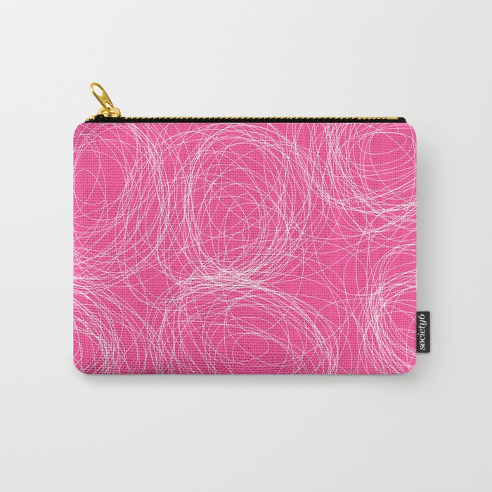 Abstract white circles and dots - abstract pattern - on pink Carry-All Pouch