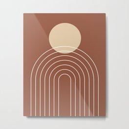 Mid Century Modern Geometric 3 (Terrocatta and beige) Metal Print