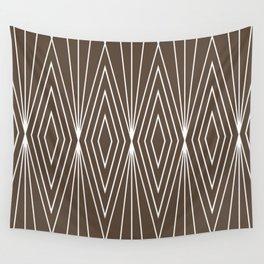 Simple Modern Diamond Lines Brown Wall Tapestry