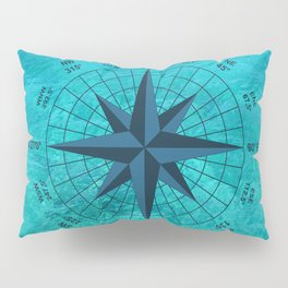 Compass on Turquoise Water Pillow Sham