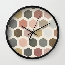 mod hive | organic honeycomb pattern in muted tones Wall Clock