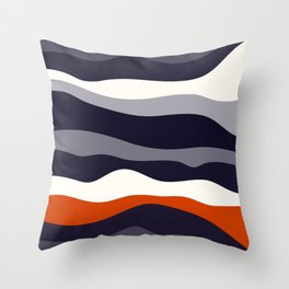 Waves - orange and grey Throw Pillow