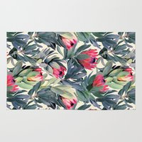 botanical Area & Throw Rugs featuring Painted Protea Pattern by micklyn