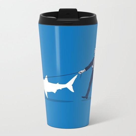Walking the Shark Metal Travel Mug