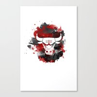 chicago bulls Canvas Prints featuring Bulls Splatter by OhMyGod, SoGood!