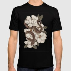 Snake and Magnolias Mens Fitted Tee Black MEDIUM