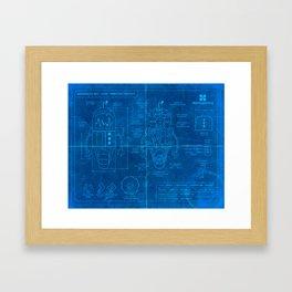 Robot Blueprint Framed Art Print