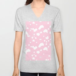 dalmatian in pink and white Unisex V-Neck