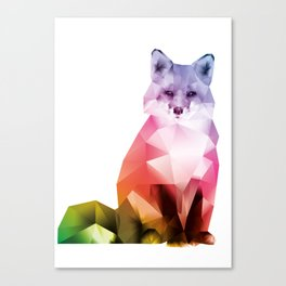 Sitting Rainbow Fox Canvas Print