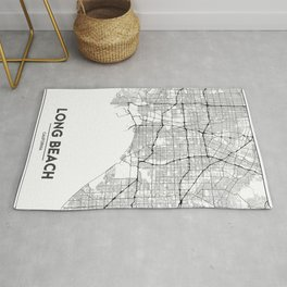 Minimal City Maps - Map Of Long Beach, California, United States Rug