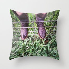 Cowboy boots in the Rain Throw Pillow