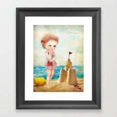 Samantha at the shore Framed Art Print