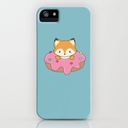 Kawaii fox and donut iPhone Case