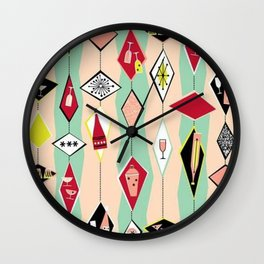 Retro, 1950's Diamond Pattern, Pink, Turquoise Wall Clock