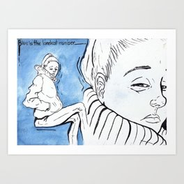 Blue is the loneliest number Art Print