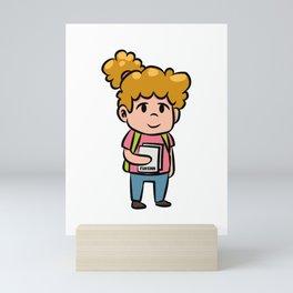 Girls' school enrollment Children cartoon gift Mini Art Print