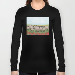 Suffolk sheep in a field with poppies Long Sleeve T-shirt