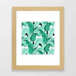 jungle leaf pattern mint Framed Art Print