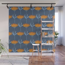 Floral in Blue and Orange Wall Mural