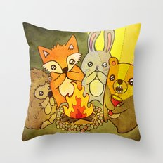 Woodland Campfire Stories Throw Pillow