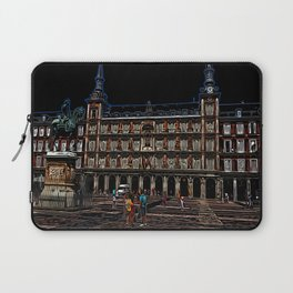 Neon Art of a plaza in Madrid, Spain Laptop Sleeve