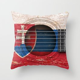 Old Vintage Acoustic Guitar with Slovakian Flag Throw Pillow