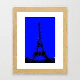 "Eiffel Tower Dark Blue Background - from ""Further Back"" series Framed Art Print"